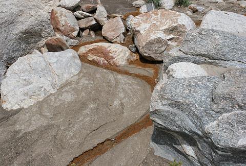 Narrow, brown algae stream near Molino Canyon Vista Overlook