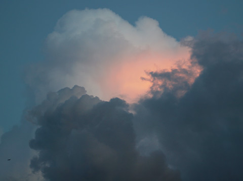 Cumulus clouds in the eastern Tucson sky at sunset