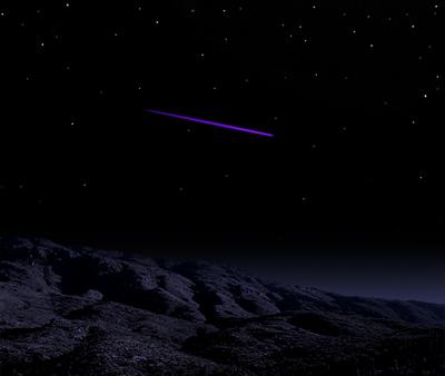Artwork depicting a violet shooting star