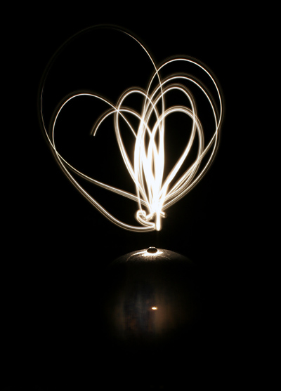 Light drawing over a ceramic globe