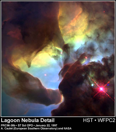 Hubble image of giant twisters in the Lagoon Nebula