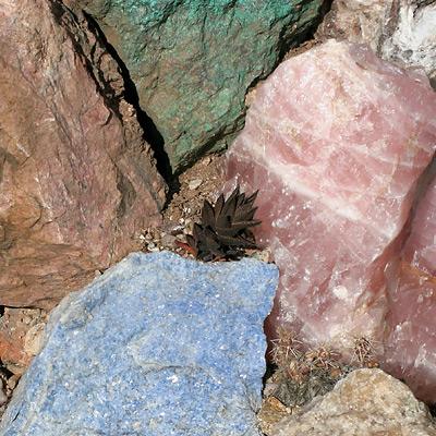 Colorful rocks in Harrison Yocum's garden in Tucson, Arizona