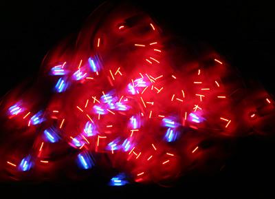 Flashing LED light trail photograph