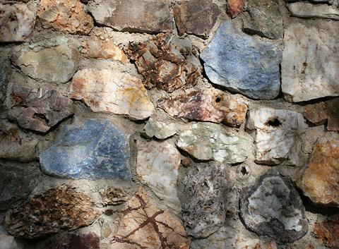 Rock wall of Harrison Yocum's house in Tucson, Arizona