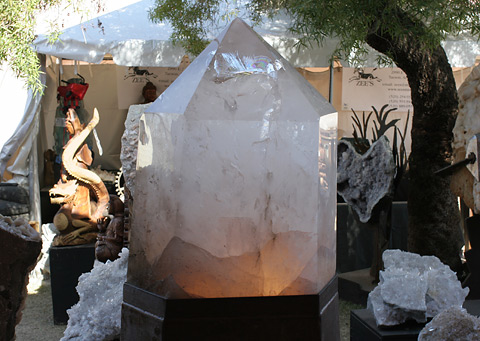 Illuminated giant Quartz crystal