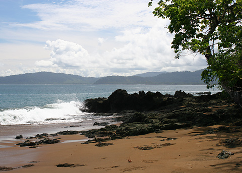 Outcropping of volcanic rocks along the Pacific coast of Costa Rica