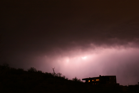 Sheet lightning in a Tucson, Arizona evening thunderstorm