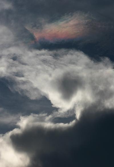 Cloud iridescence in a Tucson, Arizona thunderstorm