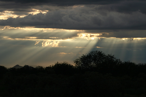 Crepuscular rays during a thunderstorm
