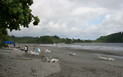 View from the beach looking towards Manuel Antonio National Park, Costa Rica