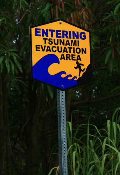 Weird Hawaii tsunami evacuation area warning sign